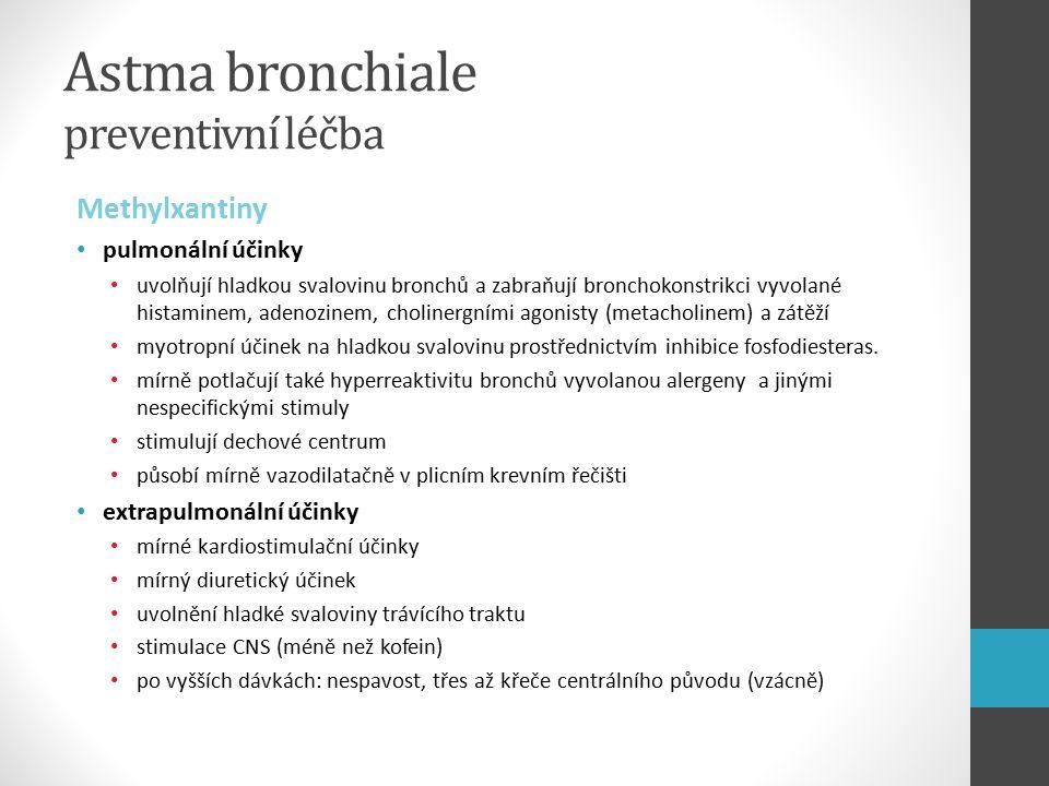 Astma bronchiale preventivní léčba Methylxantiny pulmonální účinky uvolňují hladkou svalovinu bronchů a zabraňují bronchokonstrikci vyvolané histaminem, adenozinem, cholinergními agonisty (metacholinem) a zátěží myotropní účinek na hladkou svalovinu prostřednictvím inhibice fosfodiesteras.