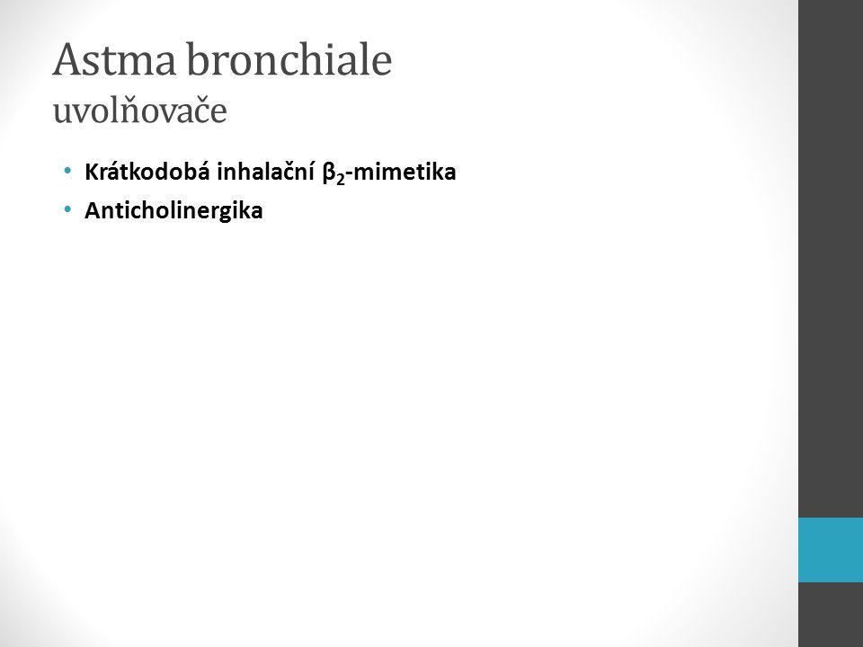 Astma bronchiale uvolňovače Krátkodobá inhalační β 2 -mimetika Anticholinergika