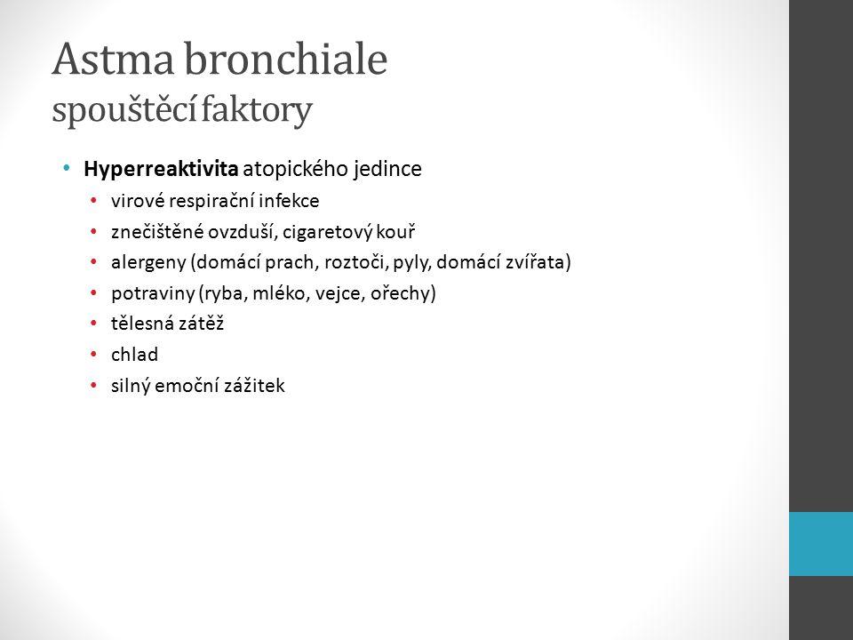 Astma bronchiale spouštěcí faktory Hyperreaktivita atopického jedince virové respirační infekce znečištěné ovzduší, cigaretový kouř alergeny (domácí prach, roztoči, pyly, domácí zvířata) potraviny (ryba, mléko, vejce, ořechy) tělesná zátěž chlad silný emoční zážitek