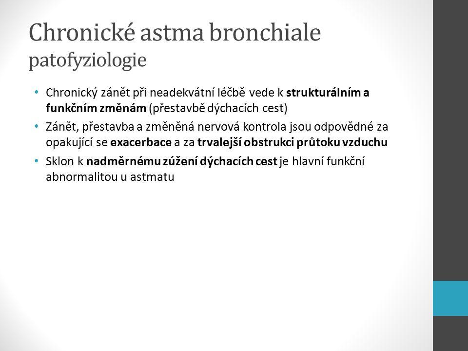Chronické astma bronchiale patofyziologie Chronický zánět při neadekvátní léčbě vede k strukturálním a funkčním změnám (přestavbě dýchacích cest) Zánět, přestavba a změněná nervová kontrola jsou odpovědné za opakující se exacerbace a za trvalejší obstrukci průtoku vzduchu Sklon k nadměrnému zúžení dýchacích cest je hlavní funkční abnormalitou u astmatu