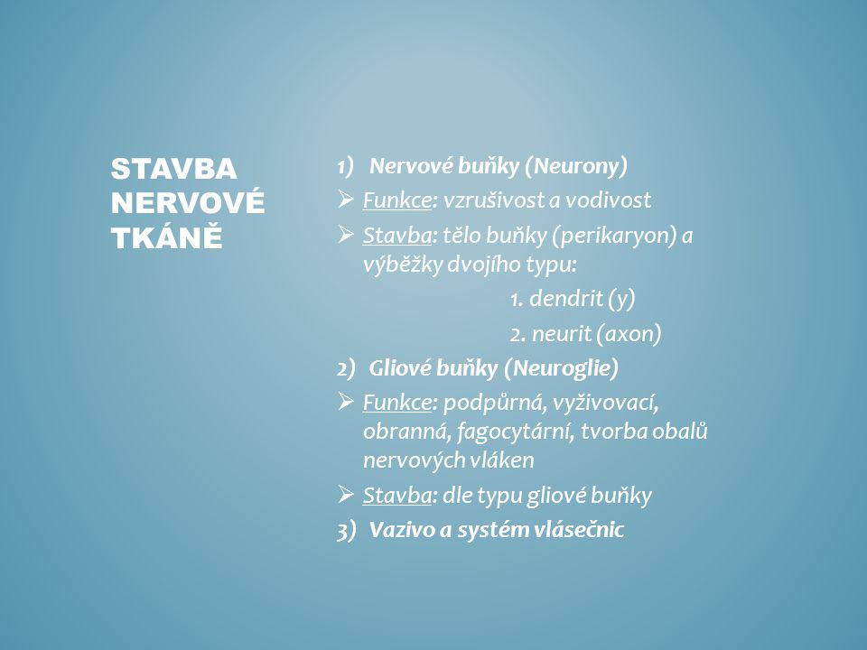 1)Nervové buňky (Neurony)  Funkce: vzrušivost a vodivost  Stavba: tělo buňky (perikaryon) a výběžky dvojího typu: 1.