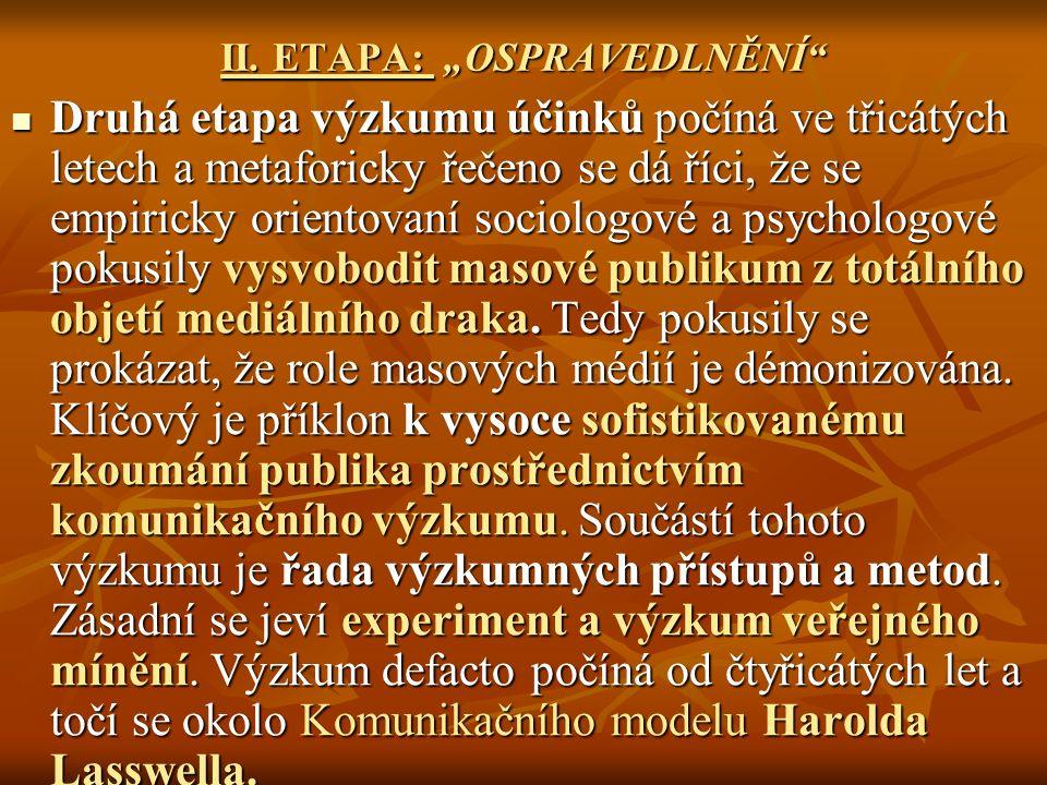 """II. ETAPA: """"OSPRAVEDLNĚNÍ"""" Druhá etapa výzkumu účinků počíná ve třicátých letech a metaforicky řečeno se dá říci, že se empiricky orientovaní sociolog"""
