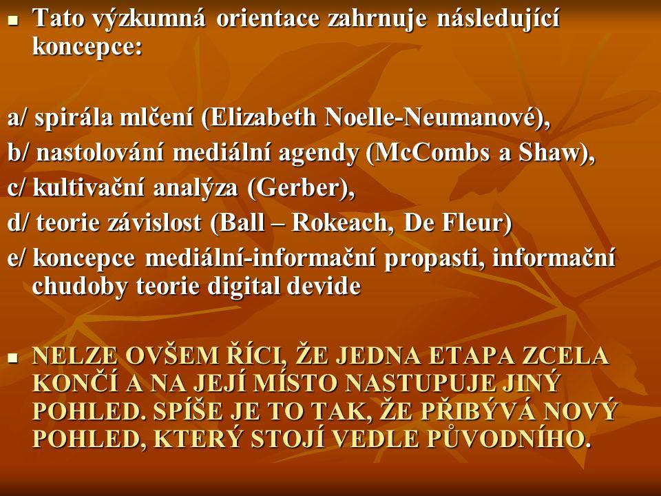 Tato výzkumná orientace zahrnuje následující koncepce: Tato výzkumná orientace zahrnuje následující koncepce: a/ spirála mlčení (Elizabeth Noelle-Neumanové), b/ nastolování mediální agendy (McCombs a Shaw), c/ kultivační analýza (Gerber), d/ teorie závislost (Ball – Rokeach, De Fleur) e/ koncepce mediální-informační propasti, informační chudoby teorie digital devide NELZE OVŠEM ŘÍCI, ŽE JEDNA ETAPA ZCELA KONČÍ A NA JEJÍ MÍSTO NASTUPUJE JINÝ POHLED.