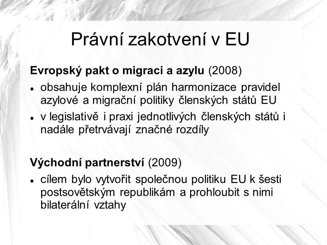 Právní zakotvení v EU Evropský pakt o migraci a azylu (2008) obsahuje komplexní plán harmonizace pravidel azylové a migrační politiky členských států EU v legislativě i praxi jednotlivých členských států i nadále přetrvávají značné rozdíly Východní partnerství (2009) cílem bylo vytvořit společnou politiku EU k šesti postsovětským republikám a prohloubit s nimi bilaterální vztahy