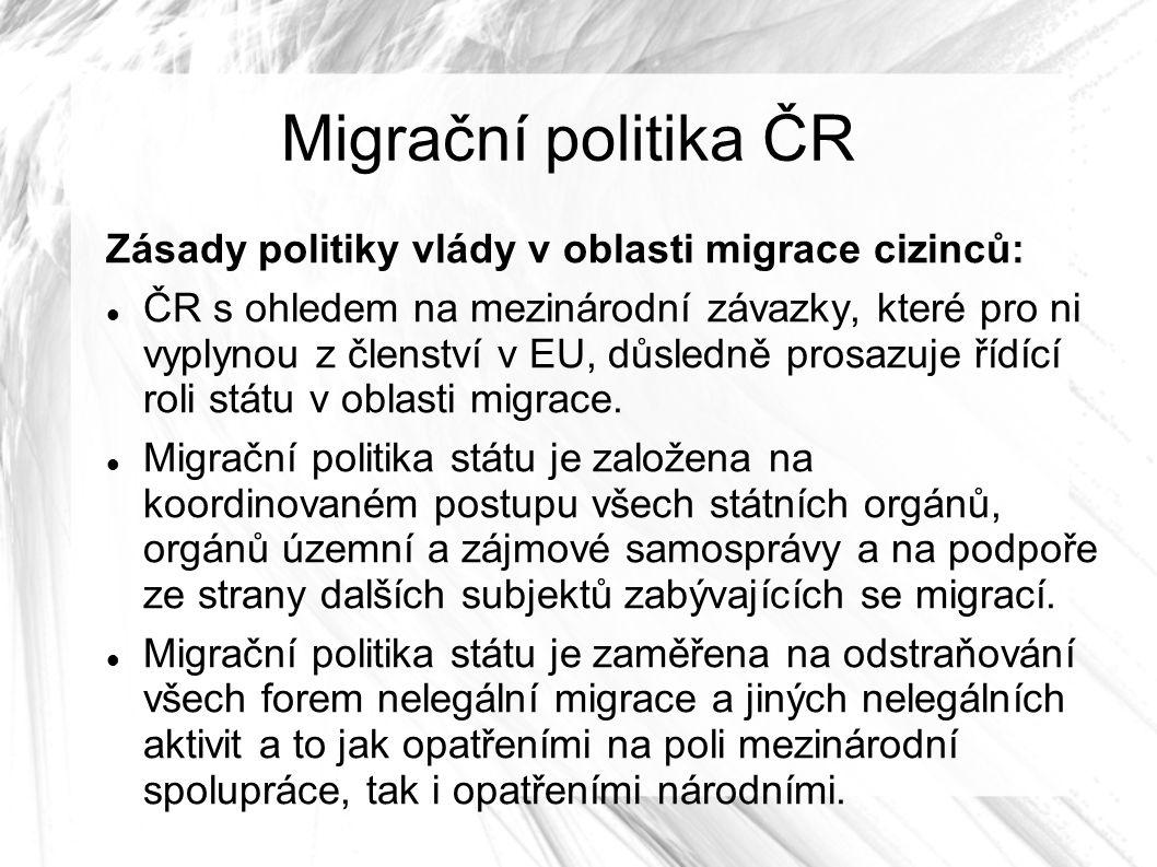 Migrační politika ČR Zásady politiky vlády v oblasti migrace cizinců: ČR s ohledem na mezinárodní závazky, které pro ni vyplynou z členství v EU, důsledně prosazuje řídící roli státu v oblasti migrace.