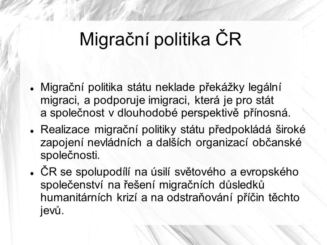 Migrační politika ČR Migrační politika státu neklade překážky legální migraci, a podporuje imigraci, která je pro stát a společnost v dlouhodobé perspektivě přínosná.