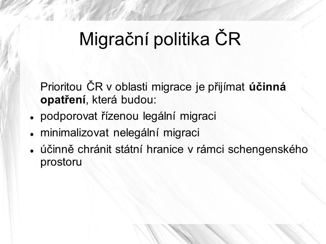 Migrační politika ČR Prioritou ČR v oblasti migrace je přijímat účinná opatření, která budou: podporovat řízenou legální migraci minimalizovat nelegální migraci účinně chránit státní hranice v rámci schengenského prostoru