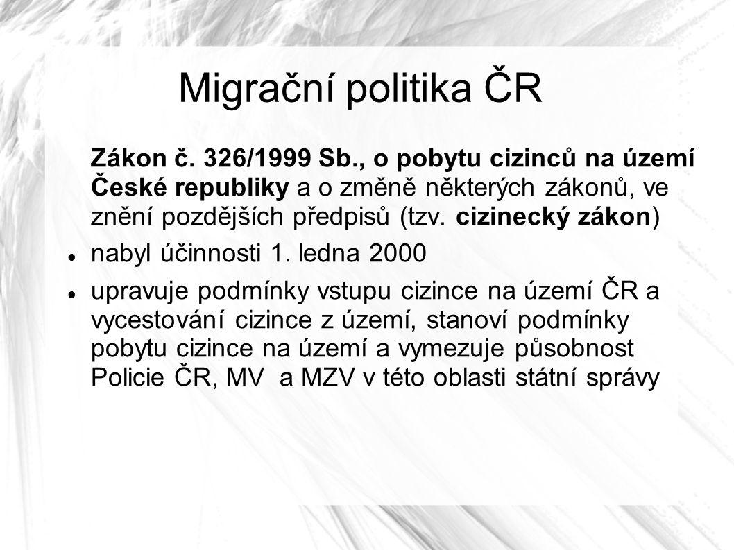 Migrační politika ČR Zákon č.