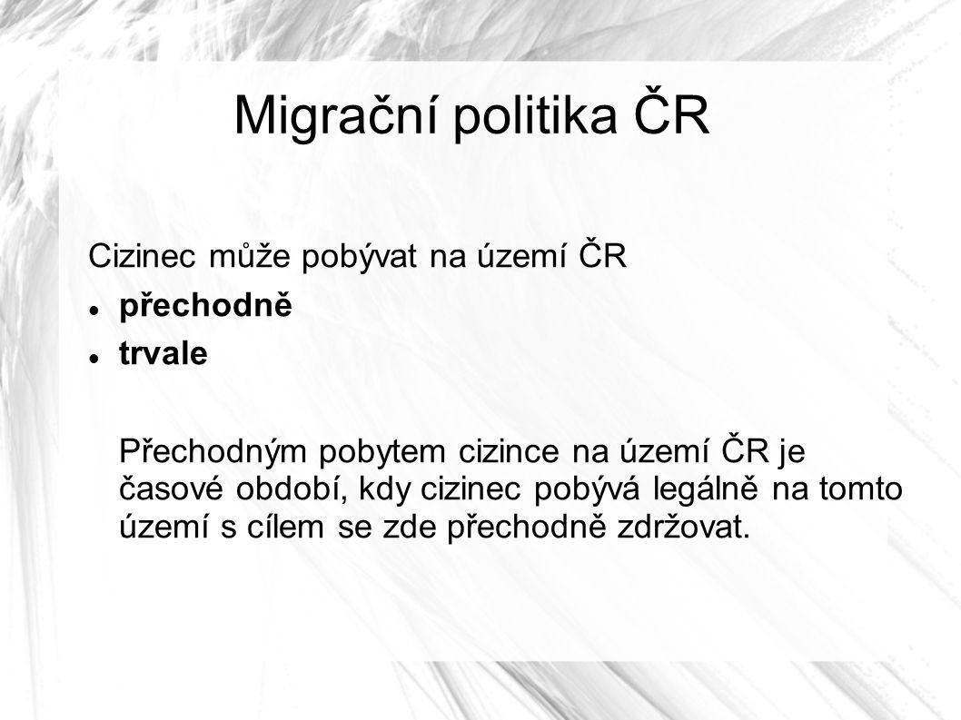 Migrační politika ČR Cizinec může pobývat na území ČR přechodně trvale Přechodným pobytem cizince na území ČR je časové období, kdy cizinec pobývá legálně na tomto území s cílem se zde přechodně zdržovat.