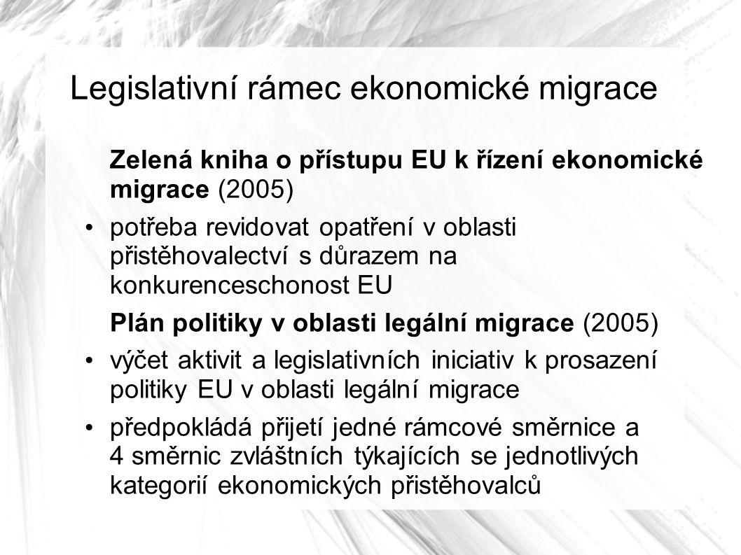 Legislativní rámec ekonomické migrace Zelená kniha o přístupu EU k řízení ekonomické migrace (2005) potřeba revidovat opatření v oblasti přistěhovalectví s důrazem na konkurenceschonost EU Plán politiky v oblasti legální migrace (2005) výčet aktivit a legislativních iniciativ k prosazení politiky EU v oblasti legální migrace předpokládá přijetí jedné rámcové směrnice a 4 směrnic zvláštních týkajících se jednotlivých kategorií ekonomických přistěhovalců