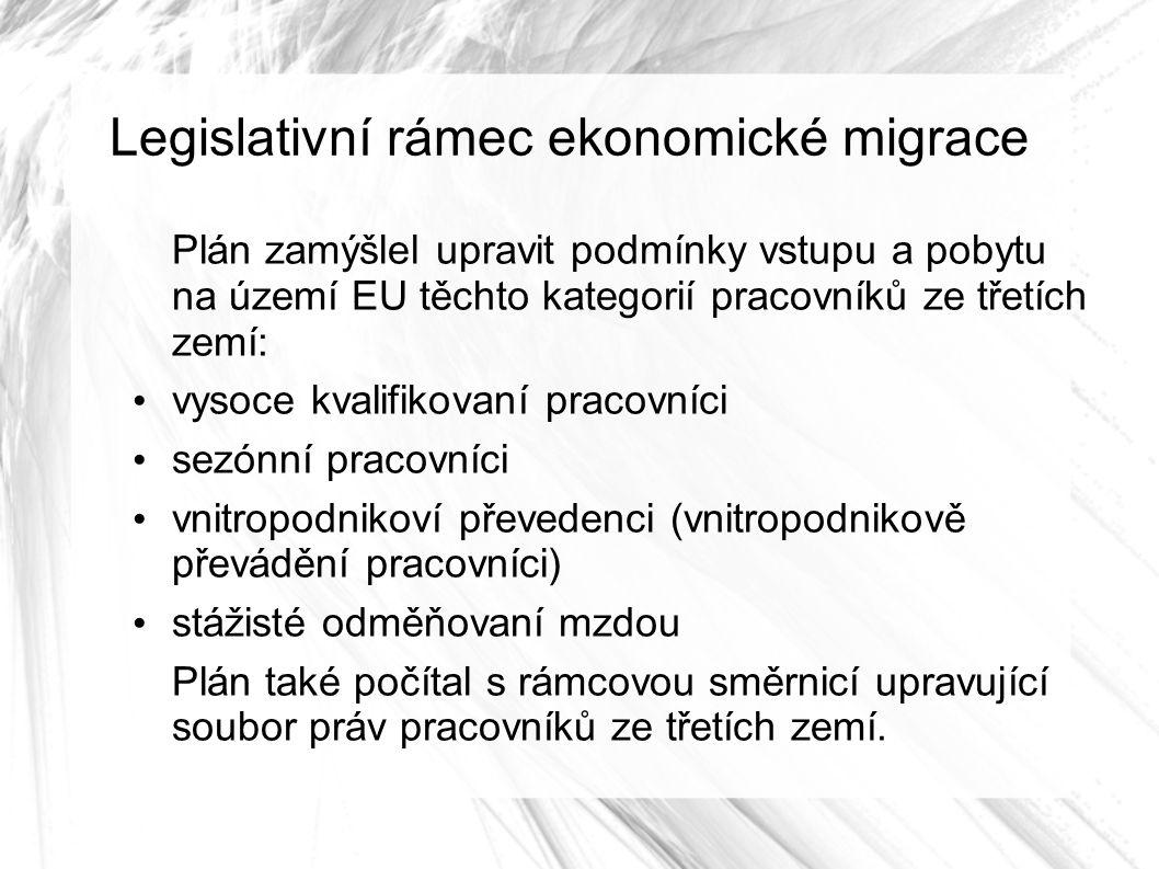 Legislativní rámec ekonomické migrace Plán zamýšlel upravit podmínky vstupu a pobytu na území EU těchto kategorií pracovníků ze třetích zemí: vysoce kvalifikovaní pracovníci sezónní pracovníci vnitropodnikoví převedenci (vnitropodnikově převádění pracovníci) stážisté odměňovaní mzdou Plán také počítal s rámcovou směrnicí upravující soubor práv pracovníků ze třetích zemí.