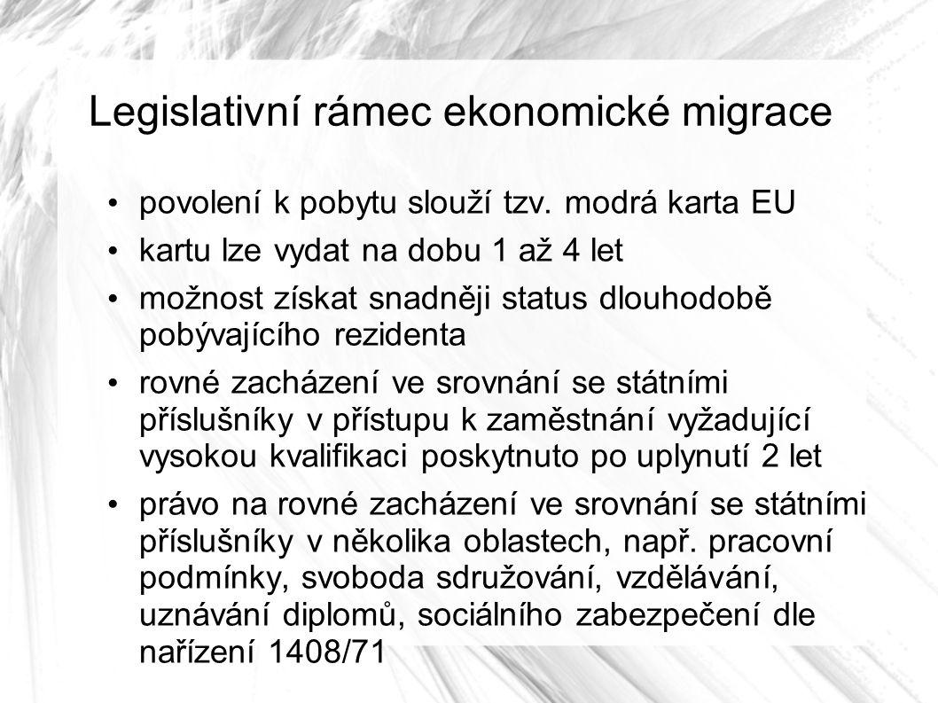 Legislativní rámec ekonomické migrace povolení k pobytu slouží tzv.