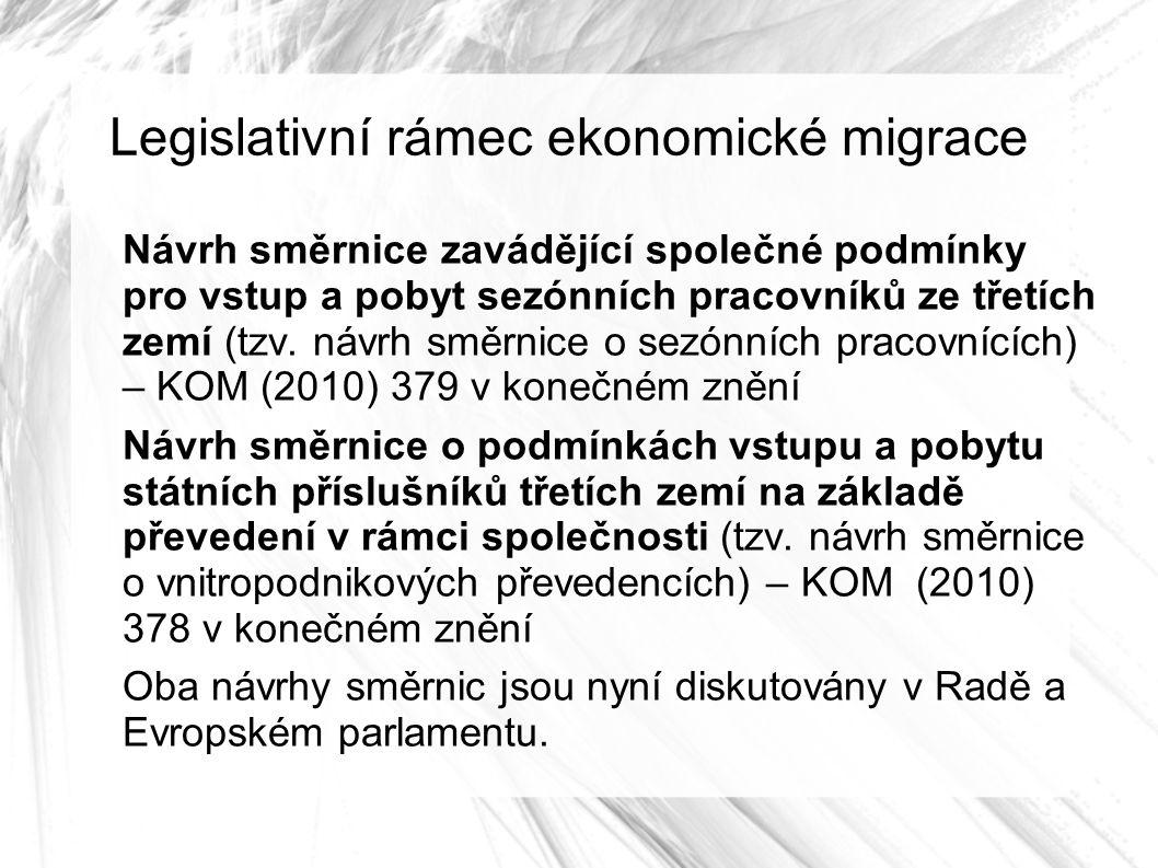 Legislativní rámec ekonomické migrace Návrh směrnice zavádějící společné podmínky pro vstup a pobyt sezónních pracovníků ze třetích zemí (tzv.