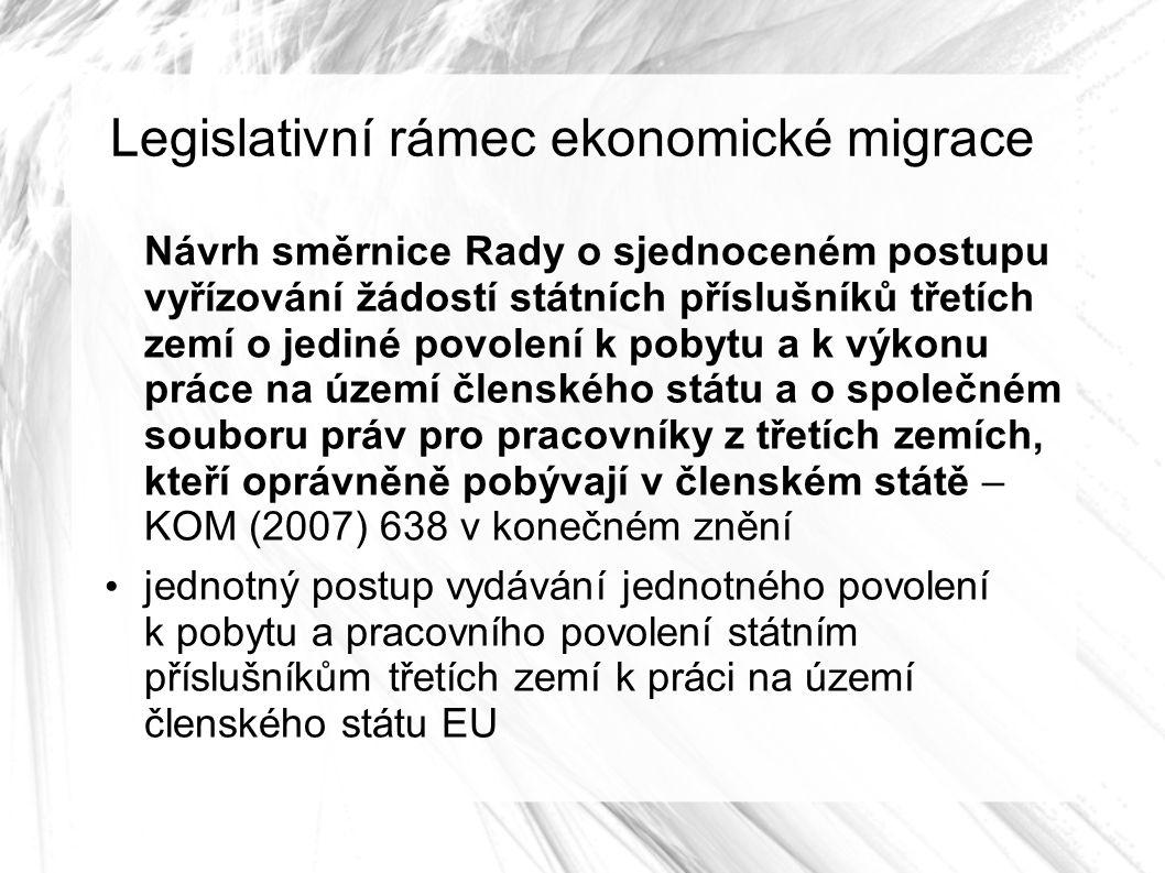 Legislativní rámec ekonomické migrace Návrh směrnice Rady o sjednoceném postupu vyřízování žádostí státních příslušníků třetích zemí o jediné povolení k pobytu a k výkonu práce na území členského státu a o společném souboru práv pro pracovníky z třetích zemích, kteří oprávněně pobývají v členském státě – KOM (2007) 638 v konečném znění jednotný postup vydávání jednotného povolení k pobytu a pracovního povolení státním příslušníkům třetích zemí k práci na území členského státu EU
