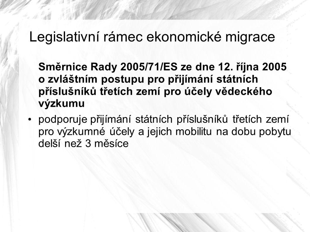 Legislativní rámec ekonomické migrace Směrnice Rady 2005/71/ES ze dne 12.