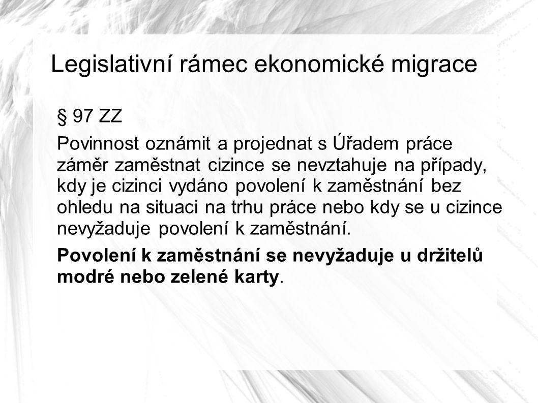 Legislativní rámec ekonomické migrace § 97 ZZ Povinnost oznámit a projednat s Úřadem práce záměr zaměstnat cizince se nevztahuje na případy, kdy je cizinci vydáno povolení k zaměstnání bez ohledu na situaci na trhu práce nebo kdy se u cizince nevyžaduje povolení k zaměstnání.