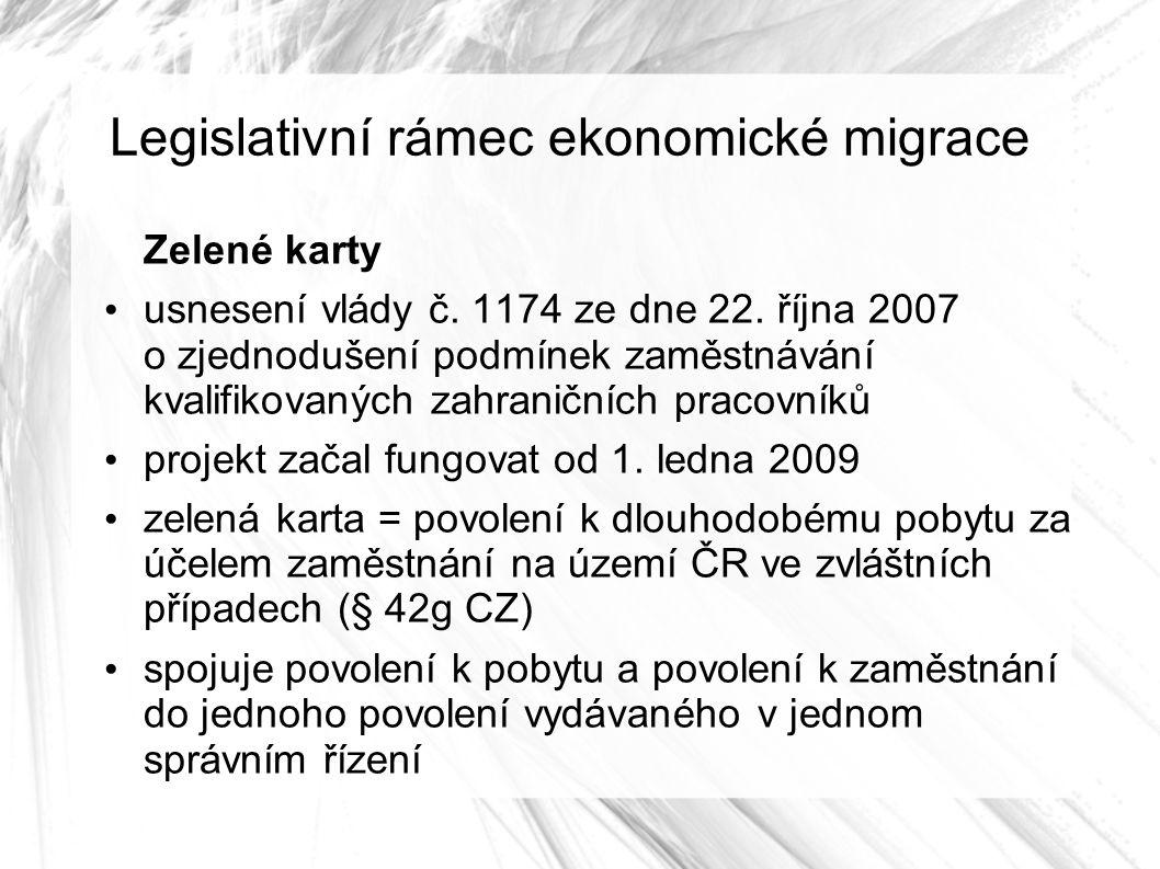 Legislativní rámec ekonomické migrace Zelené karty usnesení vlády č.