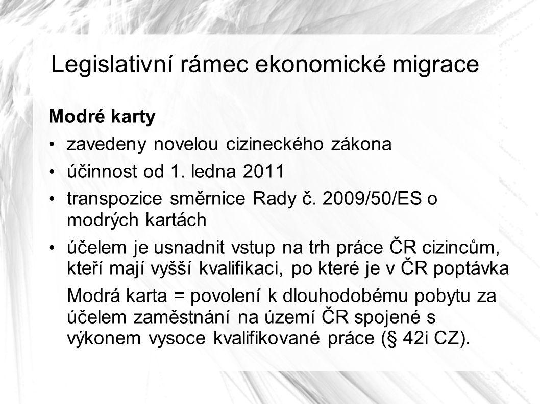 Legislativní rámec ekonomické migrace Modré karty zavedeny novelou cizineckého zákona účinnost od 1.