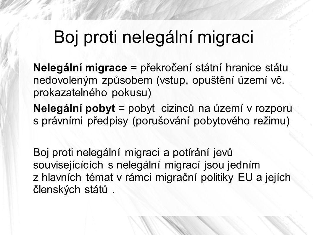 Boj proti nelegální migraci Nelegální migrace = překročení státní hranice státu nedovoleným způsobem (vstup, opuštění území vč.
