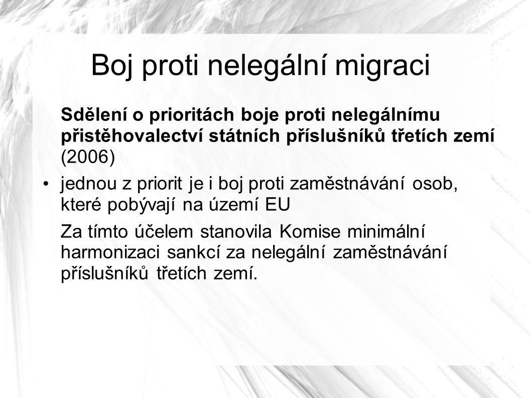 Boj proti nelegální migraci Sdělení o prioritách boje proti nelegálnímu přistěhovalectví státních příslušníků třetích zemí (2006) jednou z priorit je i boj proti zaměstnávání osob, které pobývají na území EU Za tímto účelem stanovila Komise minimální harmonizaci sankcí za nelegální zaměstnávání příslušníků třetích zemí.