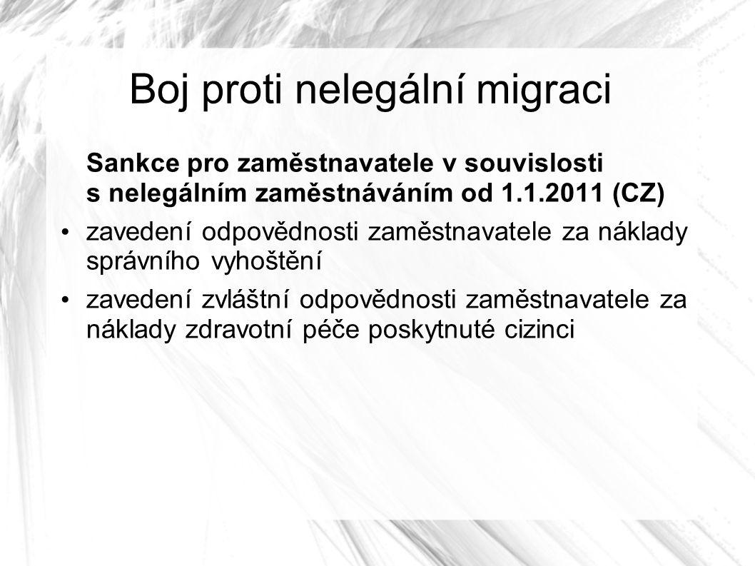Boj proti nelegální migraci Sankce pro zaměstnavatele v souvislosti s nelegálním zaměstnáváním od 1.1.2011 (CZ) zavedení odpovědnosti zaměstnavatele za náklady správního vyhoštění zavedení zvláštní odpovědnosti zaměstnavatele za náklady zdravotní péče poskytnuté cizinci