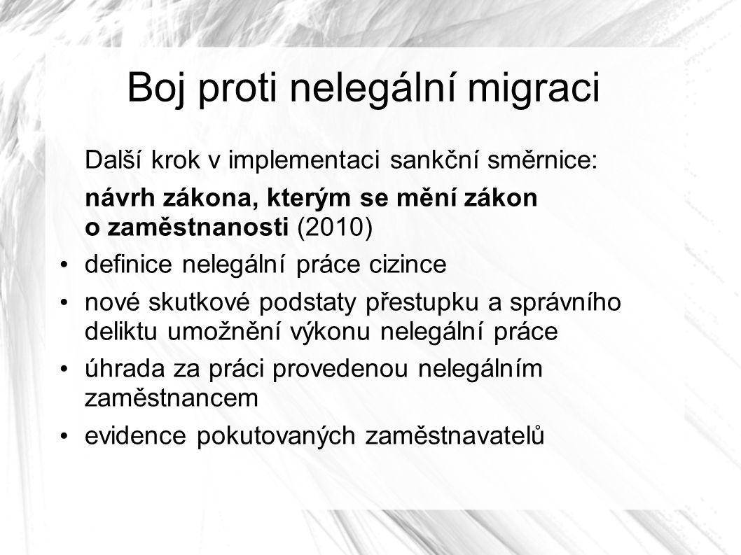 Boj proti nelegální migraci Další krok v implementaci sankční směrnice: návrh zákona, kterým se mění zákon o zaměstnanosti (2010) definice nelegální práce cizince nové skutkové podstaty přestupku a správního deliktu umožnění výkonu nelegální práce úhrada za práci provedenou nelegálním zaměstnancem evidence pokutovaných zaměstnavatelů