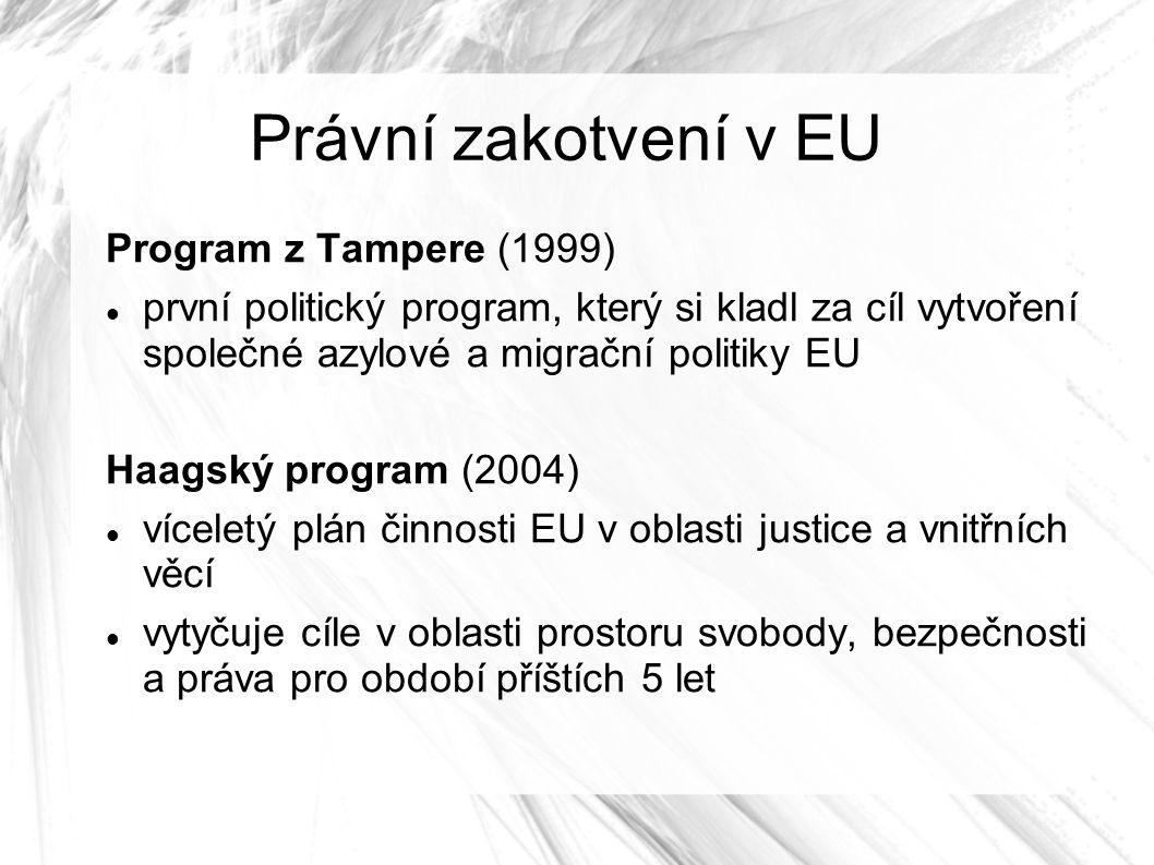 Právní zakotvení v EU Program z Tampere (1999) první politický program, který si kladl za cíl vytvoření společné azylové a migrační politiky EU Haagský program (2004) víceletý plán činnosti EU v oblasti justice a vnitřních věcí vytyčuje cíle v oblasti prostoru svobody, bezpečnosti a práva pro období příštích 5 let