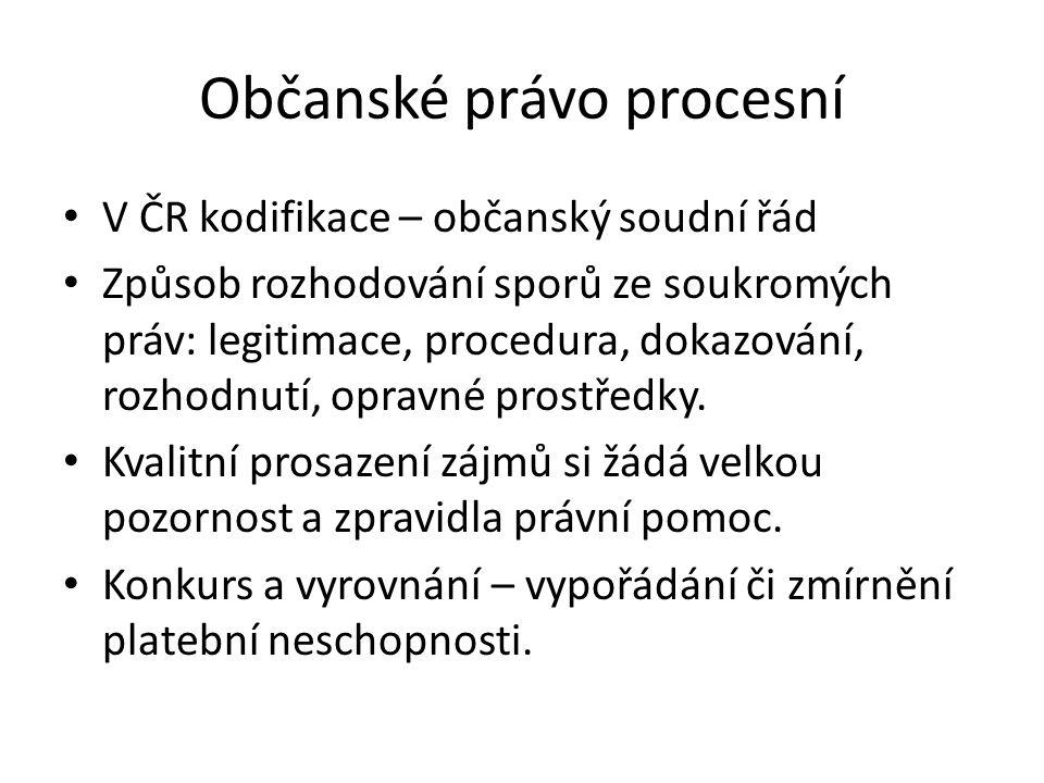 Občanské právo procesní V ČR kodifikace – občanský soudní řád Způsob rozhodování sporů ze soukromých práv: legitimace, procedura, dokazování, rozhodnutí, opravné prostředky.
