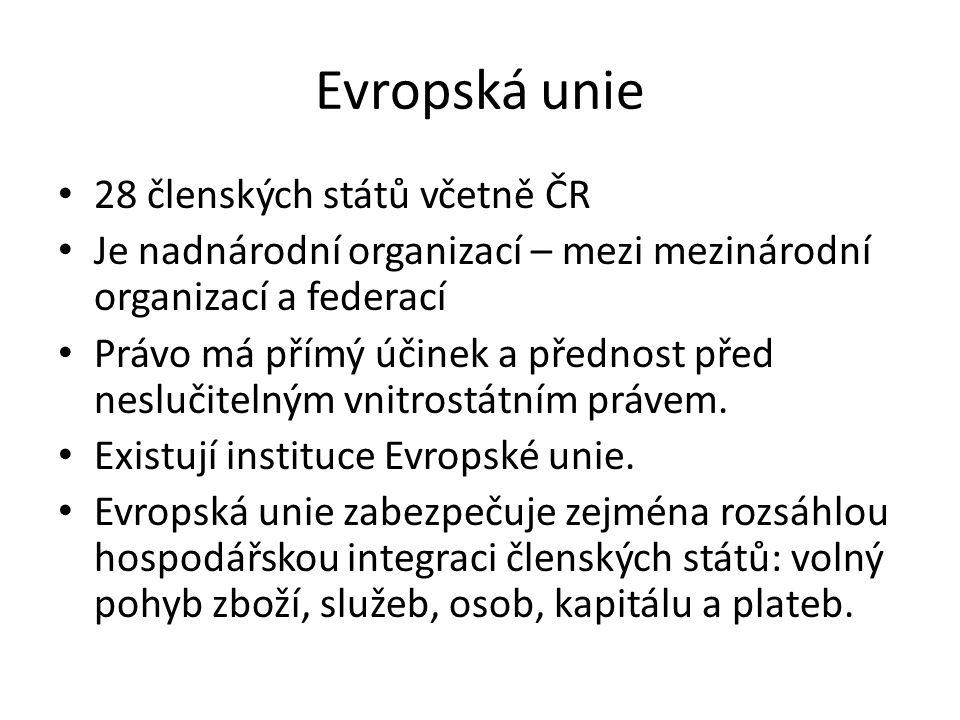 Evropská unie 28 členských států včetně ČR Je nadnárodní organizací – mezi mezinárodní organizací a federací Právo má přímý účinek a přednost před neslučitelným vnitrostátním právem.
