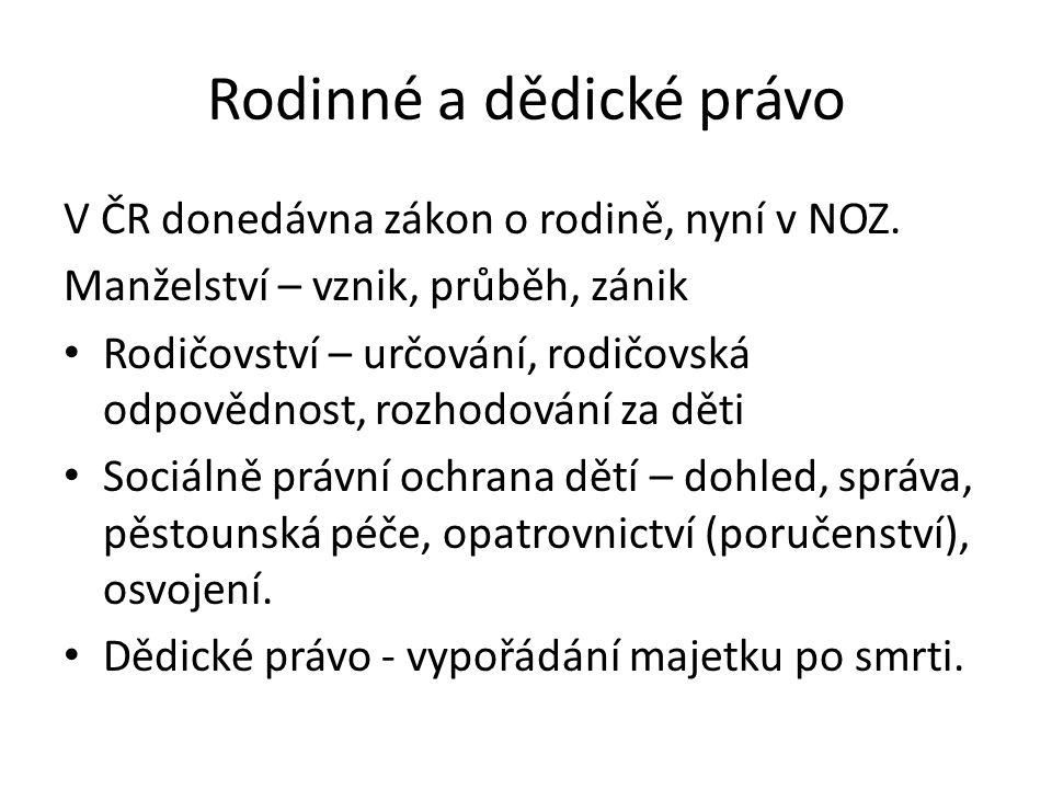 Rodinné a dědické právo V ČR donedávna zákon o rodině, nyní v NOZ.
