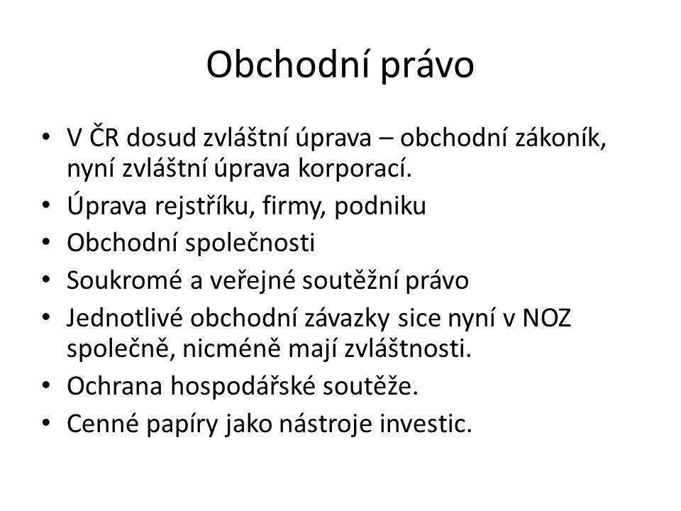 Obchodní právo V ČR dosud zvláštní úprava – obchodní zákoník, nyní zvláštní úprava korporací.