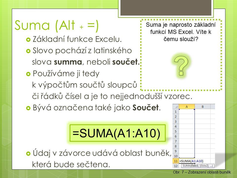 Suma (Alt + =)  Základní funkce Excelu.  Slovo pochází z latinského slova summa, neboli součet.  Používáme ji tedy k výpočtům součtů sloupců či řád
