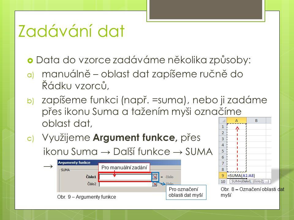 Zadávání dat  Data do vzorce zadáváme několika způsoby: a) manuálně – oblast dat zapíšeme ručně do Řádku vzorců, b) zapíšeme funkci (např. =suma), ne