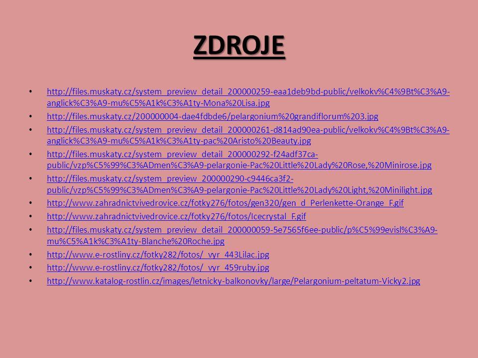 ZDROJE http://files.muskaty.cz/system_preview_detail_200000259-eaa1deb9bd-public/velkokv%C4%9Bt%C3%A9- anglick%C3%A9-mu%C5%A1k%C3%A1ty-Mona%20Lisa.jpg http://files.muskaty.cz/system_preview_detail_200000259-eaa1deb9bd-public/velkokv%C4%9Bt%C3%A9- anglick%C3%A9-mu%C5%A1k%C3%A1ty-Mona%20Lisa.jpg http://files.muskaty.cz/200000004-dae4fdbde6/pelargonium%20grandiflorum%203.jpg http://files.muskaty.cz/system_preview_detail_200000261-d814ad90ea-public/velkokv%C4%9Bt%C3%A9- anglick%C3%A9-mu%C5%A1k%C3%A1ty-pac%20Aristo%20Beauty.jpg http://files.muskaty.cz/system_preview_detail_200000261-d814ad90ea-public/velkokv%C4%9Bt%C3%A9- anglick%C3%A9-mu%C5%A1k%C3%A1ty-pac%20Aristo%20Beauty.jpg http://files.muskaty.cz/system_preview_detail_200000292-f24adf37ca- public/vzp%C5%99%C3%ADmen%C3%A9-pelargonie-Pac%20Little%20Lady%20Rose,%20Minirose.jpg http://files.muskaty.cz/system_preview_detail_200000292-f24adf37ca- public/vzp%C5%99%C3%ADmen%C3%A9-pelargonie-Pac%20Little%20Lady%20Rose,%20Minirose.jpg http://files.muskaty.cz/system_preview_200000290-c9446ca3f2- public/vzp%C5%99%C3%ADmen%C3%A9-pelargonie-Pac%20Little%20Lady%20Light,%20Minilight.jpg http://files.muskaty.cz/system_preview_200000290-c9446ca3f2- public/vzp%C5%99%C3%ADmen%C3%A9-pelargonie-Pac%20Little%20Lady%20Light,%20Minilight.jpg http://www.zahradnictvivedrovice.cz/fotky276/fotos/gen320/gen_d_Perlenkette-Orange_F.gif http://www.zahradnictvivedrovice.cz/fotky276/fotos/Icecrystal_F.gif http://files.muskaty.cz/system_preview_detail_200000059-5e7565f6ee-public/p%C5%99evisl%C3%A9- mu%C5%A1k%C3%A1ty-Blanche%20Roche.jpg http://files.muskaty.cz/system_preview_detail_200000059-5e7565f6ee-public/p%C5%99evisl%C3%A9- mu%C5%A1k%C3%A1ty-Blanche%20Roche.jpg http://www.e-rostliny.cz/fotky282/fotos/_vyr_443Lilac.jpg http://www.e-rostliny.cz/fotky282/fotos/_vyr_459ruby.jpg http://www.katalog-rostlin.cz/images/letnicky-balkonovky/large/Pelargonium-peltatum-Vicky2.jpg