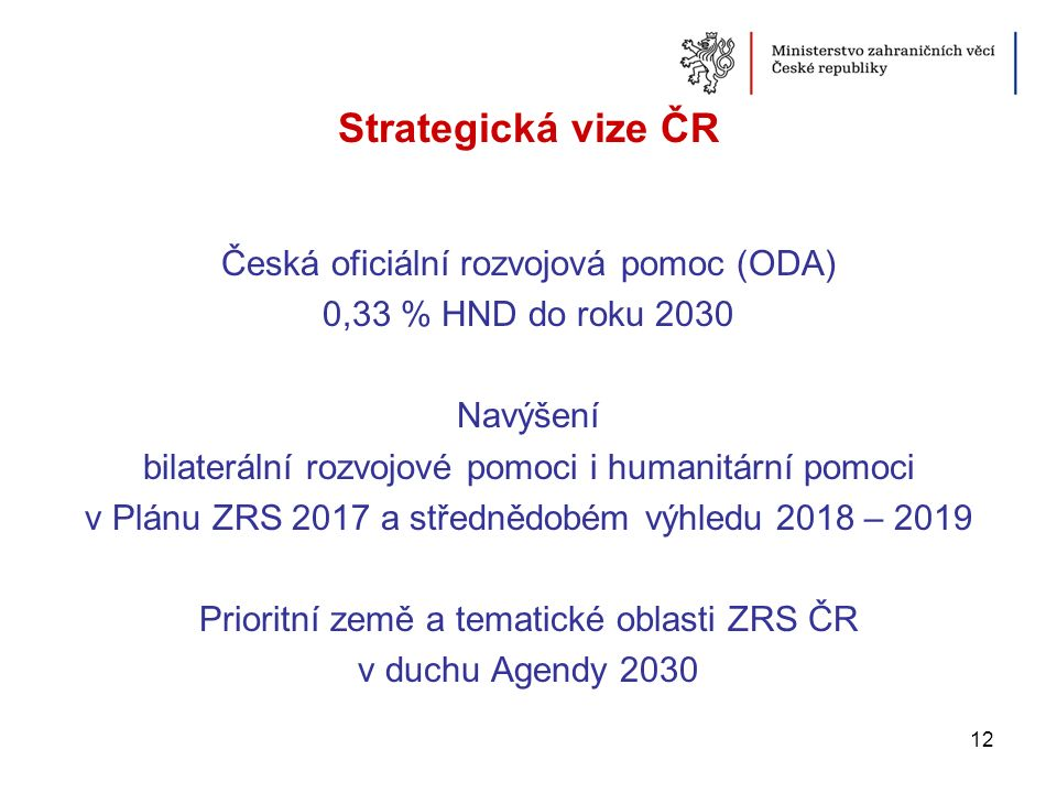 Strategická vize ČR Česká oficiální rozvojová pomoc (ODA) 0,33 % HND do roku 2030 Navýšení bilaterální rozvojové pomoci i humanitární pomoci v Plánu Z