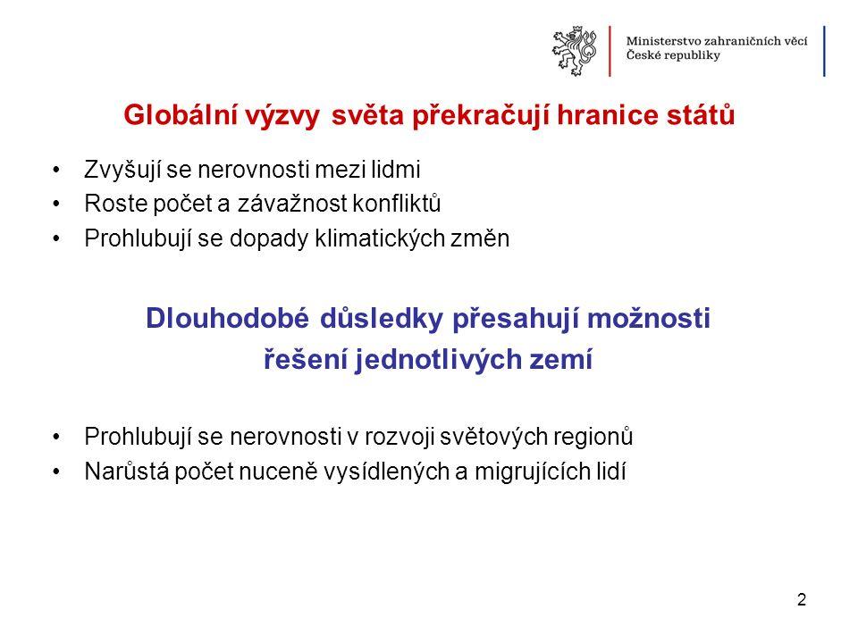 Česká republika není pasivní pozorovatel aktivně působí v Evropě i ve světě hraje důležitou roli ve spoluvytváření udržitelného vývoje i důstojného života ve světě pro všechny 3