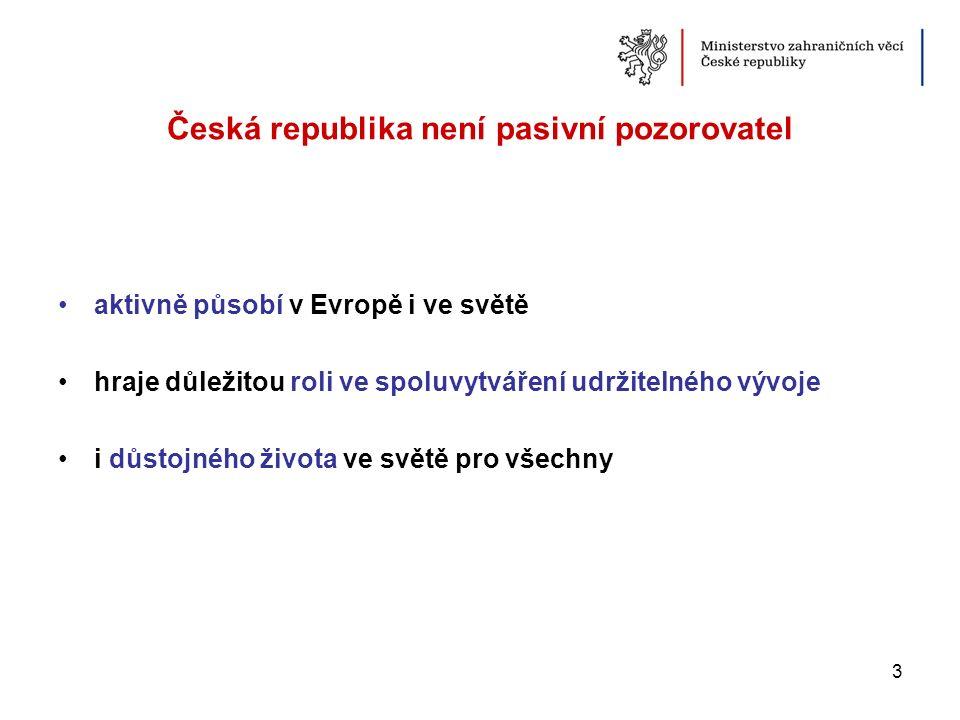 Česká republika není pasivní pozorovatel aktivně působí v Evropě i ve světě hraje důležitou roli ve spoluvytváření udržitelného vývoje i důstojného ži