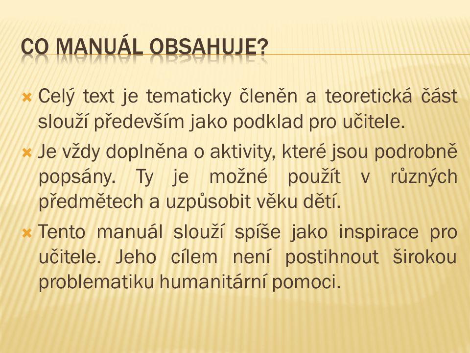  Celý text je tematicky členěn a teoretická část slouží především jako podklad pro učitele.
