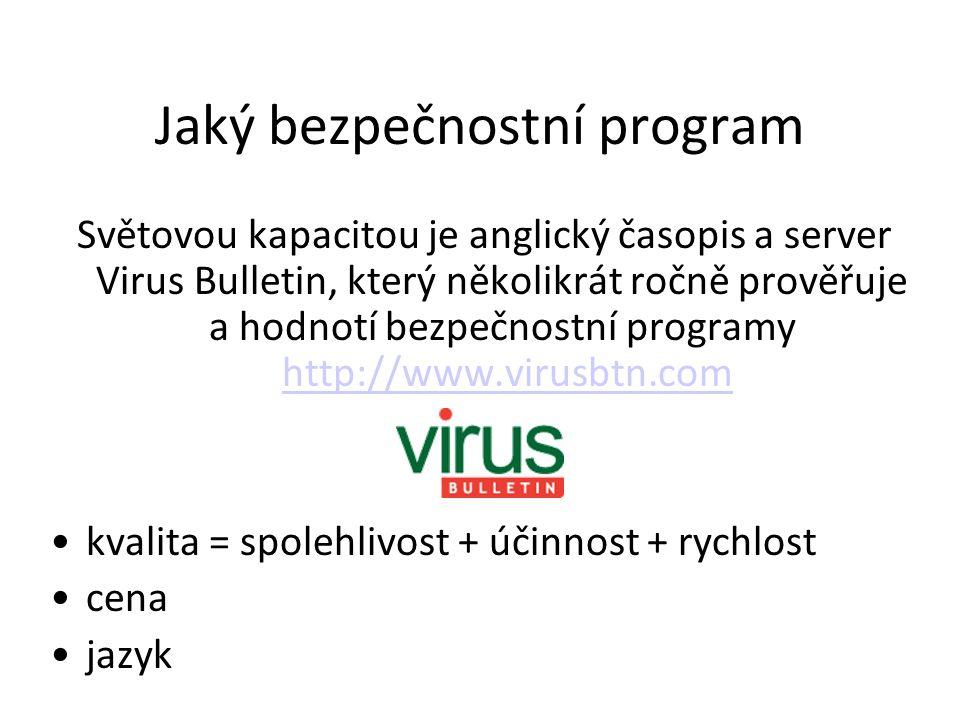 Jaký bezpečnostní program Světovou kapacitou je anglický časopis a server Virus Bulletin, který několikrát ročně prověřuje a hodnotí bezpečnostní prog