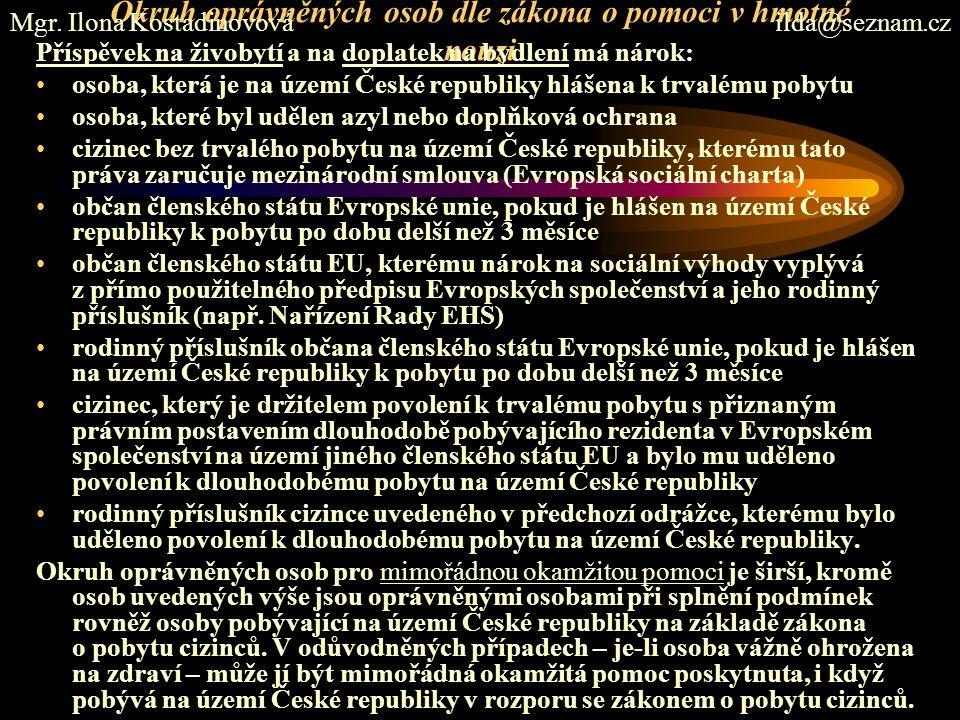 Okruh oprávněných osob dle zákona o pomoci v hmotné nouzi Příspěvek na živobytí a na doplatek na bydlení má nárok: osoba, která je na území České republiky hlášena k trvalému pobytu osoba, které byl udělen azyl nebo doplňková ochrana cizinec bez trvalého pobytu na území České republiky, kterému tato práva zaručuje mezinárodní smlouva (Evropská sociální charta) občan členského státu Evropské unie, pokud je hlášen na území České republiky k pobytu po dobu delší než 3 měsíce občan členského státu EU, kterému nárok na sociální výhody vyplývá z přímo použitelného předpisu Evropských společenství a jeho rodinný příslušník (např.