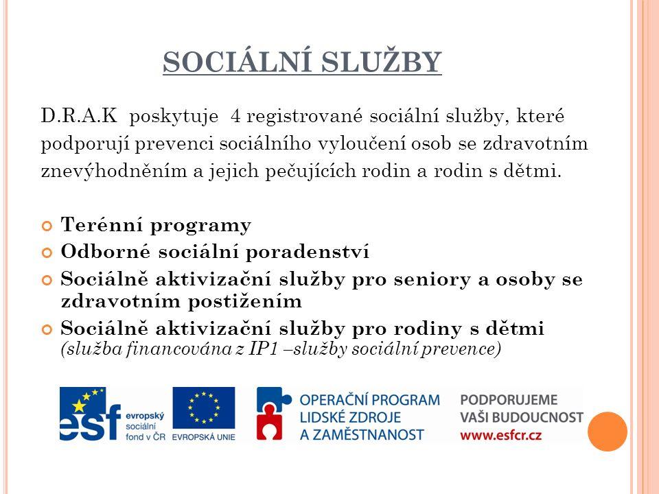 SOCIÁLNÍ SLUŽBY D.R.A.K poskytuje 4 registrované sociální služby, které podporují prevenci sociálního vyloučení osob se zdravotním znevýhodněním a jejich pečujících rodin a rodin s dětmi.