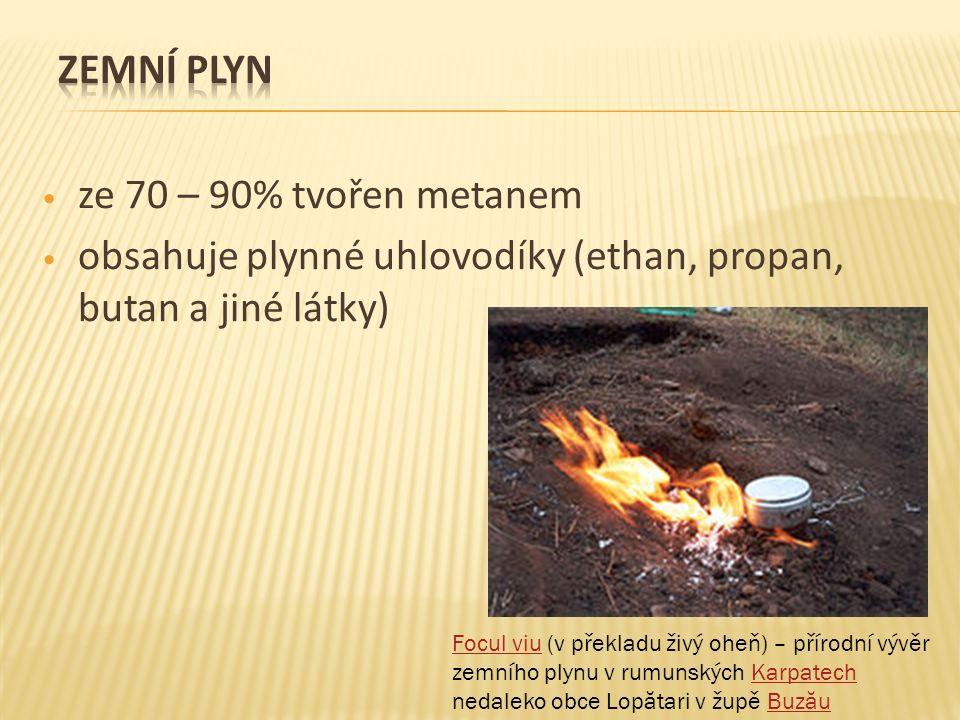 ze 70 – 90% tvořen metanem obsahuje plynné uhlovodíky (ethan, propan, butan a jiné látky) Focul viuFocul viu (v překladu živý oheň) – přírodní vývěr z