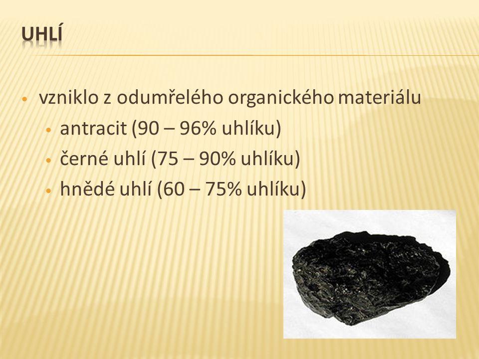 vzniklo z odumřelého organického materiálu antracit (90 – 96% uhlíku) černé uhlí (75 – 90% uhlíku) hnědé uhlí (60 – 75% uhlíku)