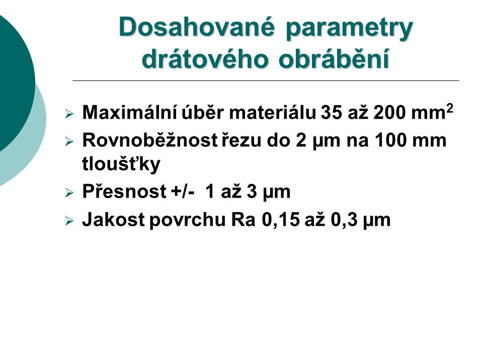 Dosahované parametry drátového obrábění  Maximální úběr materiálu 35 až 200 mm 2  Rovnoběžnost řezu do 2 µm na 100 mm tloušťky  Přesnost +/- 1 až 3 µm  Jakost povrchu Ra 0,15 až 0,3 µm