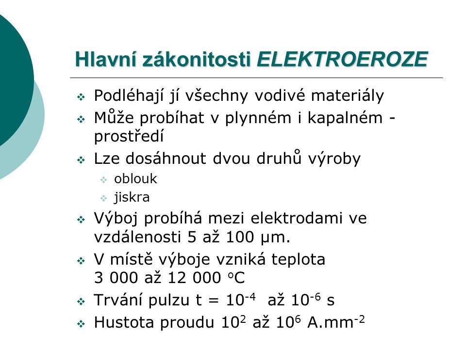 Hlavní zákonitosti ELEKTROEROZE  Podléhají jí všechny vodivé materiály  Může probíhat v plynném i kapalném - prostředí  Lze dosáhnout dvou druhů výroby  oblouk  jiskra  Výboj probíhá mezi elektrodami ve vzdálenosti 5 až 100 µm.