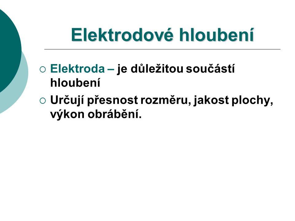 Elektrodové hloubení  Elektroda – je důležitou součástí hloubení  Určují přesnost rozměru, jakost plochy, výkon obrábění.