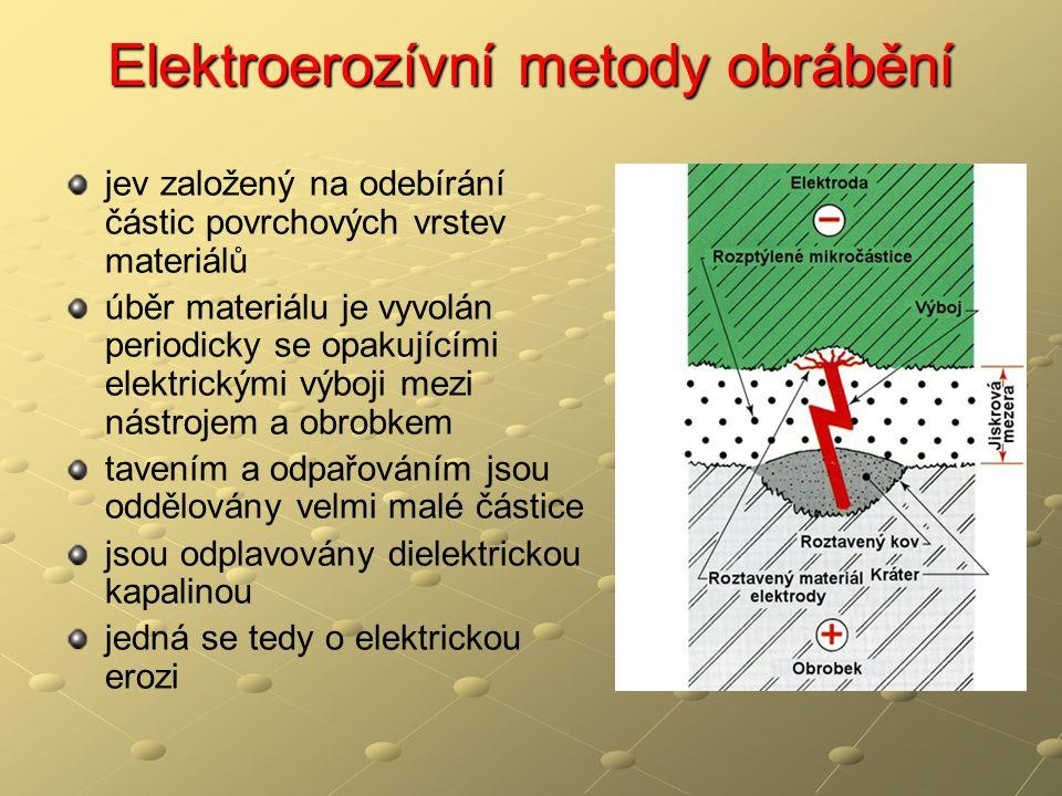 jev založený na odebírání částic povrchových vrstev materiálů úběr materiálu je vyvolán periodicky se opakujícími elektrickými výboji mezi nástrojem a obrobkem tavením a odpařováním jsou oddělovány velmi malé částice jsou odplavovány dielektrickou kapalinou jedná se tedy o elektrickou erozi