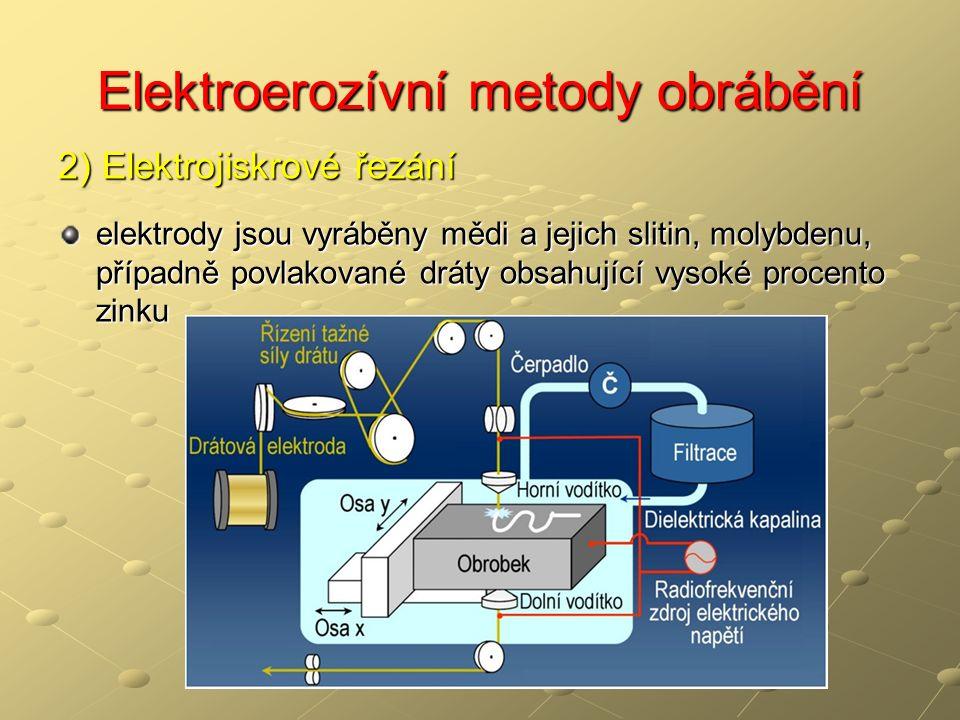 Elektroerozívní metody obrábění 2) Elektrojiskrové řezání elektrody jsou vyráběny mědi a jejich slitin, molybdenu, případně povlakované dráty obsahující vysoké procento zinku