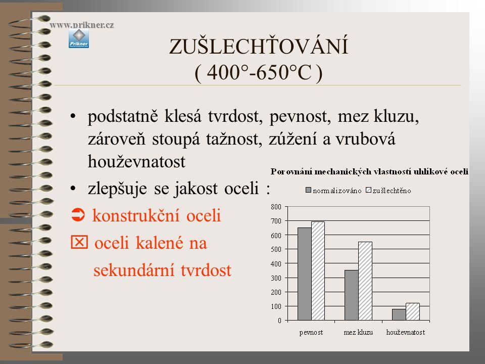 ZUŠLECHŤOVÁNÍ ( 400°-650°C ) www.prikner.cz podstatně klesá tvrdost, pevnost, mez kluzu, zároveň stoupá tažnost, zúžení a vrubová houževnatost zlepšuj