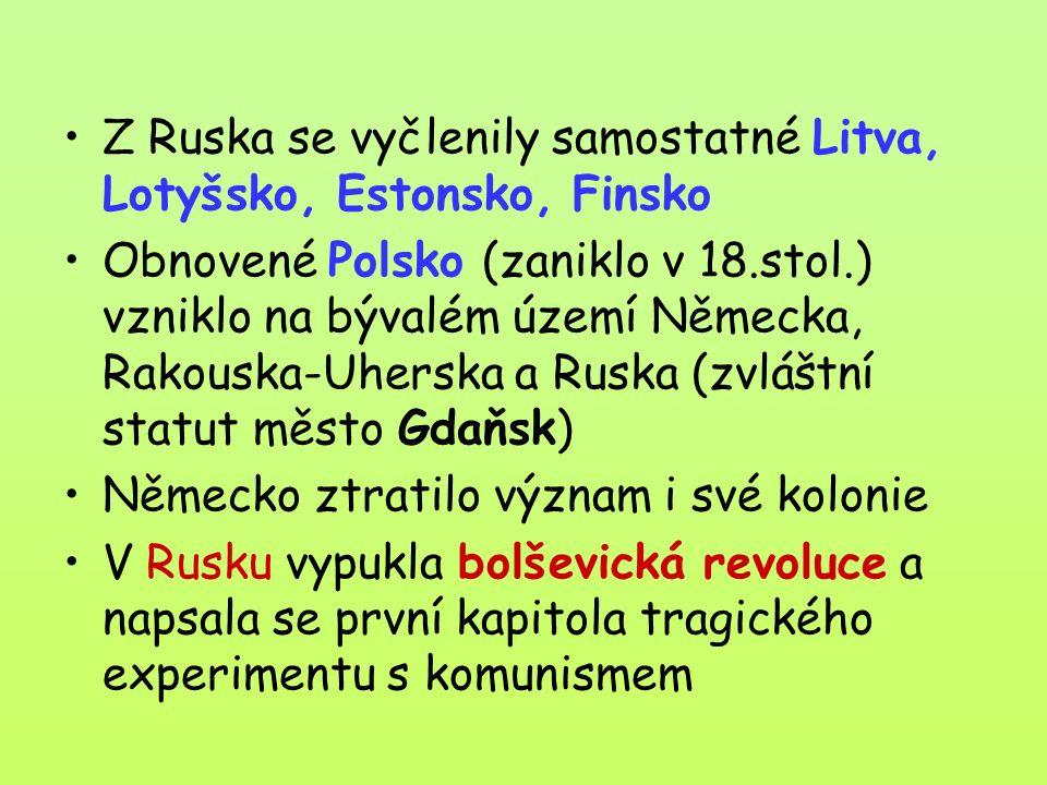 Z Ruska se vyčlenily samostatné Litva, Lotyšsko, Estonsko, Finsko Obnovené Polsko (zaniklo v 18.stol.) vzniklo na bývalém území Německa, Rakouska-Uherska a Ruska (zvláštní statut město Gdaňsk) Německo ztratilo význam i své kolonie V Rusku vypukla bolševická revoluce a napsala se první kapitola tragického experimentu s komunismem